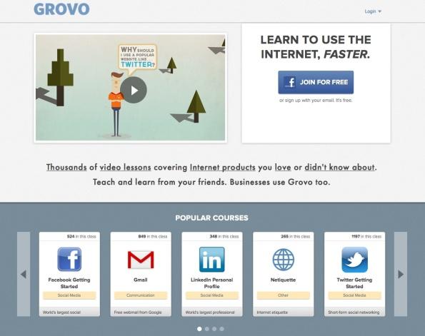 Page d'accueil du site GROVO